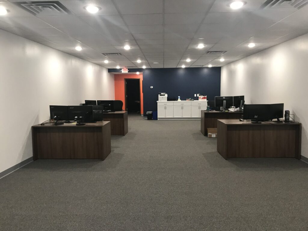 New office with desks.