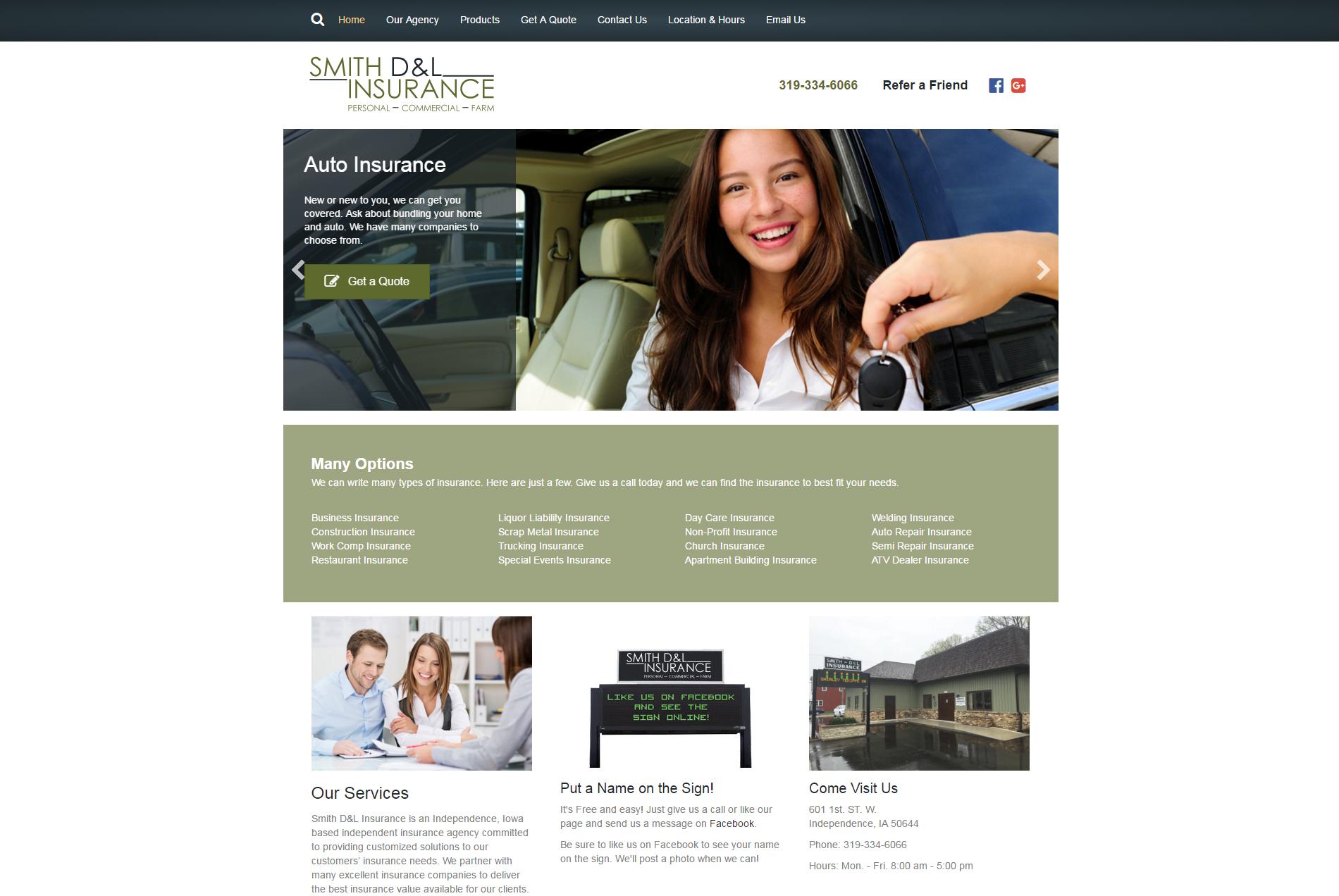 Smith D&L Insurance - Website